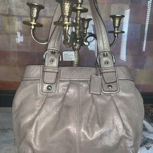 Coach gold satin bag